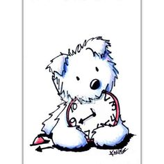 RESERVED for PATRICIA Original Westie Terrier Dog ACEO Matted