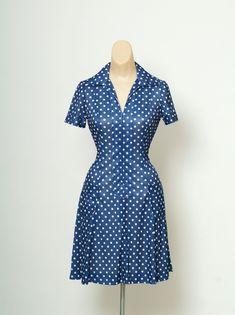 bb59b718b9d9 Vintage Dress / 60s 70s Dress / Polka Dot Dress / Navy Dress Polka Dot Dress  / Vintage 70's Polyester