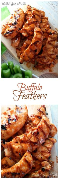 """""""Buffalo Feathers"""" are grilled chicken tenders sauced like wings (similar to Wild Wing Cafe's). This recipe for wing sauce has just enough brown sugar to balance the acidic pepper sauce without being cloyingly sweet and the soy sauce gives it another layer of flavor. I think I might have found my new favorite wing sauce recipe! FOR REAL! So good!"""