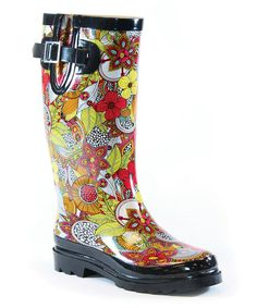 Another great find on #zulily! Yellow & Red Illustrative Floral Rain Boot by Chooka & Western Chief #zulilyfinds