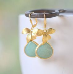 Gold Orchid and Large Sage Green Teardrop Drop Earrings. Sage Green Dangle Earrings. Jewelry Gift for Her.  Free Shipping.