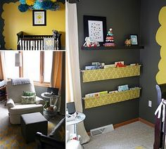 yellow and gray! and the bookshelves!