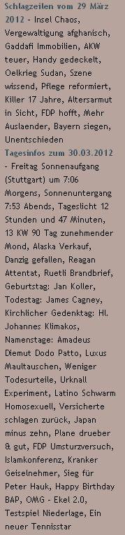 Schlagzeilen vom 29 März 2012 / Tagesinfos zum 30.03.2012 - http://www.schoeneswetter.com
