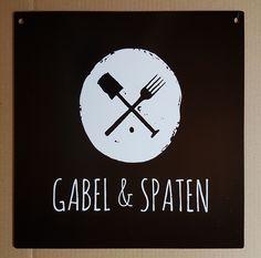 Restaurant sign, 2 mm steel. Marl, Germany. Restaurant Signs, Gabel, Germany, Clock, Decor, Watch, Decoration, Deutsch, Clocks