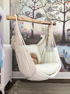 This hammock chair and woodland wall mural wallpaper are wonderful design ideas for a baby nursery, kid's room or playroom - Unique Nursery and Children's Room Decor - KindredVintage Co. Summer Tour Enchanted Forest Mural is from Anthropologie, room ideas Little Girl Rooms, Bedroom Ideas For Small Rooms For Girls, Gurls Bedroom Ideas, Girls Flower Bedroom, Small Childrens Bedroom Ideas, Unique Teen Bedrooms, Kids Bedroom Ideas For Girls Toddler, Childrens Bedrooms Girls, Little Girls Playroom