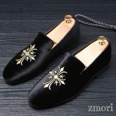 Black Velvet Embroidered Cross Mens Oxfords Loafers Dress Shoes Flats dd8b1ff32b00