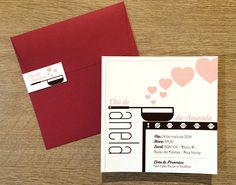 Convites. Convite com ilustração de panela no fogão e corações imitando fumaça, para dar um ar delicado ao modelo (by Chá das Duas