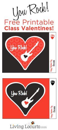 "Free Printable ""You Rock"" Class Valentine Card for Valentine's Day. Great for school parties. Valentine's Day Printables, Printable Cards, Printable Valentine, Valentine Crafts For Kids, Valentines, Saint Valentine, Valentine Ideas, Kids Crafts, School Events"