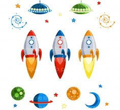 Outer Space Rocket Ships, UFOs, Planets, Galaxy Swirls, Moon and Stars Clip Art… Hot Air Balloon Clipart, Old Fashioned Bicycle, Clip Art, Space Rocket, Paper Tree, Space Theme, Vintage Ephemera, Outer Space, Baby Boy Shower