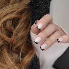 love this fun twist on a french mani – base color is 'tuck it in my tux' and french tip was 'licorice' and top it off with 'good to go' topcoat.