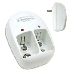 Dual 9-Volt AC Charger for Nickel-Metal Hydride and Nickel Cadmium Batteries, White