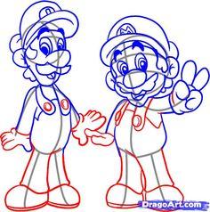 how to draw mario bros