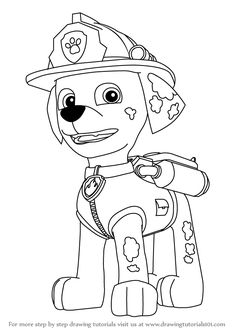 Marshall is the male puppy and is one of the supporters in the PAW Petrol. By nature, he is a silly dog but still he has supported Ryder at so many occasions. Easy Coloring Pages, Disney Coloring Pages, Coloring Books, Paw Patrol Marshall, Paw Patrol Party, Paw Patrol Birthday, Toddler Drawing, Paw Patrol Coloring Pages, Disney Colors
