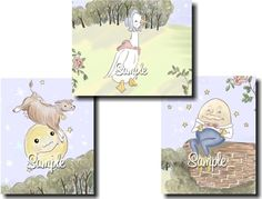Set of 3 Whimsical Nursery Rhyme Themed Children's by ToadAndLily, $15.00