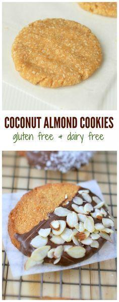 Gluten free recipe - Dairy free - Refined sugar free - Easy + healthy + delicious cookie recipe in 15 minutes. Coconut Almond cookies, Gluten free, dairy free and refined sugar free. Gluten Free Almond Cookies, Sugar Free Cookies, Paleo Cookies, Gluten Free Sweets, Gluten Free Baking, Yummy Cookies, Honey Cookies, Coconut Cookies, Coconut Flour