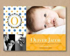 Baby Boy or Baby Girl Birth Announcement, 5x7, Printable - Sweet Polka Dot