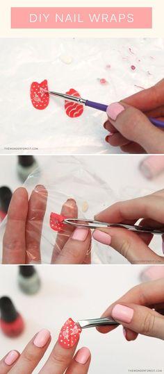 Make your own nail wraps with nail polish! No more wonky wrong-handed nail art ;)
