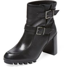 Robert Clergerie Women's Apin Double Buckle Bootie - Black - Size 36½ ($350) ❤ liked on Polyvore featuring shoes, boots, ankle booties, black, black platform booties, black ankle booties, black leather boots, black high heel boots and black ankle boots