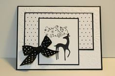 very fun and simple sketch this week! And I kept it fun and simple. I used the Stampin Up! Dasher image. I stamped it on Whisper White card stock using black ink. I layered each of the pieces of the card on Basic Black card stock. The dotted paper is from the Night & Day decorative paper package. I thought it would go well with this card.