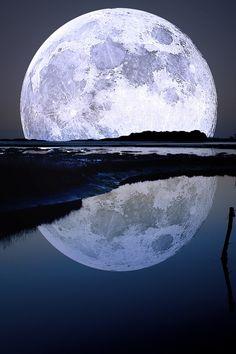 Bright blue moon photography sky night water moon reflection big huge