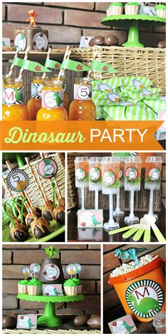 A orange and green Dinosaur boy birthday party with fun party decorations and activities!  See more party ideas at CatchMyParty.com!