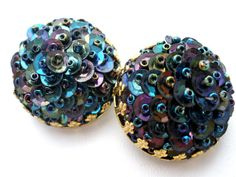 Blue Iridescent Earrings Bead Sequin Round by TheJewelryLadysStore