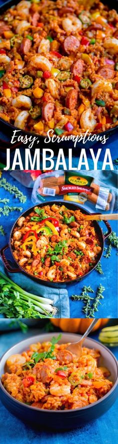 This flavorful New Orleans JAMBALAYA RECIPE is so darn scrumptious! Filled with chicken, sausage and shrimp, it's an easy, healthy one-pot meal the whole family will enjoy. Fall Dinner Recipes, Potluck Recipes, Quick Recipes, Appetizer Recipes, Healthy Recipes, Dinner Ideas, Fall Recipes, Delicious Recipes, Pumkin Recipes