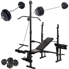 Physionics Weight Bench Set Multifunctional Barbell 2 Dumbbells Sz Curl Bar For Home Gym Workout