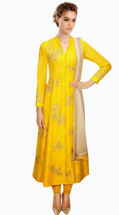 Classy Yellow Silk Floral Embroidered Plus Size Salwar Kameez