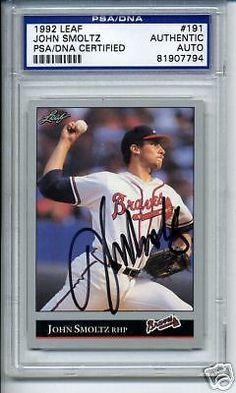 JOHN-SMOLTZ-SIGNED-AUTO-1992-LEAF-PSA-DNA-SLABBED #johnsmoltz #smoltz #signedcard #autograph #1992