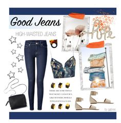 """Get the Look: High-Waisted Jeans"" by gabree ❤ liked on Polyvore"