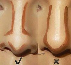Best Ideas For Makeup Tutorials : Pele – Contorno de nariz … Makeup Tips Contouring, Nose Contouring, Makeup 101, Makeup Guide, Contour Makeup, Makeup Inspo, Skin Makeup, Makeup Inspiration, Makeup Brushes