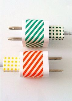 Cut ducktape and wrap around charger for a cute twist.