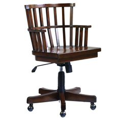 Adjustable-height office chair with a slatted back and castered feet.   Product: Chair   Construction Material: Woo...