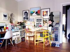 """Studio Tour: Hello Miss May   Design*Sponge   """"The living-room-turned-studio, called The Weekend Studio, is a combination of an office, inventory supply room, walk-in mood-board, and photo set."""""""