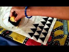 Fabric painting tutorial for beginners. fabric painting on clothes. Fabric Patterns, Embroidery Patterns, Hand Embroidery, Sewing Patterns, Embroidery Works, Dress Patterns, Vegetable Painting, Vegetable Prints, Fabric Painting On Clothes