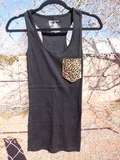 Cheetah/Leopard Pocket Tee Tank by cassieraine on Etsy, $10.00