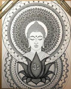 'Rule your mind or it will rule you - Buddha' . Work-in-progress drawn with by . Mandala Art Lesson, Mandala Artwork, Mandalas Painting, Mandalas Drawing, Buddha Drawing, Doodle Art Drawing, Buddha Painting, Buddha Kunst, Buddha Art