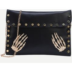 Black Metal Skeleton Hand Accent Studded Clutch Bag (250 HNL) ❤ liked on Polyvore featuring bags, handbags, clutches, black, chain handbags, studded purse, studded clutches, metal purse and chain purse