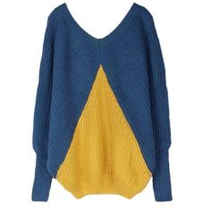 Contrast Color Bat Sleeve V Neck Blue Sweater