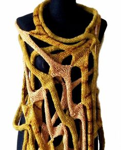 COBWEBS  handknit shawl scarf  poncho wrap  in gold by laslopezlas