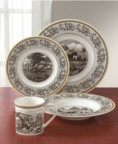 """Villeroy & Boch """"Audun"""" Dinnerware - Casual Dinnerware - Dining & Entertaining - Macy's (top pick) Casual Dinnerware, Dinnerware Sets, Grey Wallpaper Iphone, Antique Dishes, China Tea Sets, Italian Pottery, Deco Table, Vintage China, Birthday Decorations"""