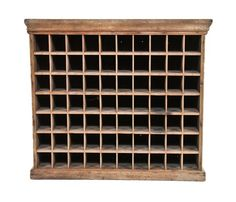 """Urban Remains Chicago :: late 19th century freestanding american primitive """"pigeon hole"""" railroad depot cabinet with worn and weathered finish - Storage"""