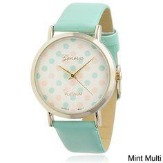 Geneva Platinum Women's Polka-dot Dial Watch   Overstock.com Shopping - Big Discounts on Geneva Platinum Women's Geneva Watches