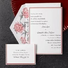 Pearl and red borders are featured on this bright white invitation card. Enclosures feature the same red and pearl border and are sold separately. Craft Wedding, Wedding Ideas, Inexpensive Wedding Invitations, Wedding Stationery, Invitation Cards, Pearls, Holiday, Crafts, Bright