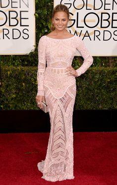 Golden Globes 2015 Chrissy Teigen in Zuhair Murad