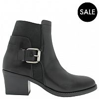 Ink+Black+Side+Buckled+Boot+With+Elastic+6110