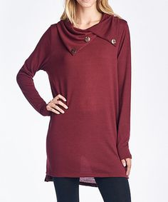 Look what I found on #zulily! Burgundy Button-Neck Tunic - Plus by 42POPS #zulilyfinds