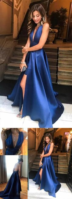 Long Formal Dresses Blue, A-line Formal Dress, Floor-length Party Dresses, Satin Halter Evening Dresses