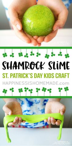 Shamrock Slime is a quick and easy St. Patrick's Day kids craft that the whole family will enjoy! Whip up a batch of this homemade DIY slime in just a few minutes for lots of gooey fun!